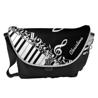 Notas musicales y llaves embarulladas personalizad bolsa de mensajería