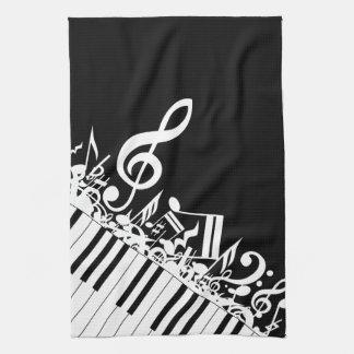 Notas musicales y llaves embarulladas toalla de cocina