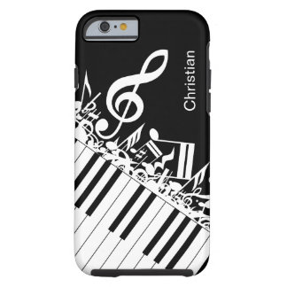 Notas musicales y llaves frescas personalizadas funda de iPhone 6 tough