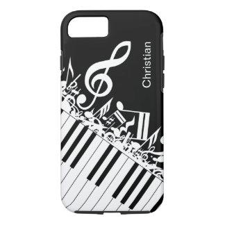 Notas musicales y llaves frescas personalizadas funda iPhone 7