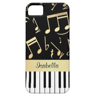 Notas musicales y llaves personalizadas del piano iPhone 5 carcasa
