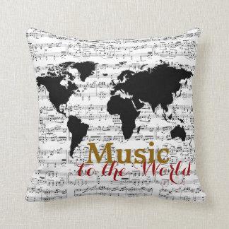 notas musicales y mapa negro cojines