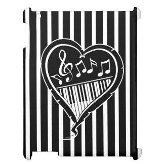 Notas musicales y piano blancos y negros elegantes