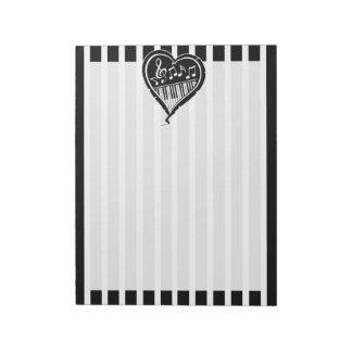 Notas musicales y piano blancos y negros elegantes bloc de papel