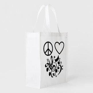 Notas negras de la música de baile del corazón del bolsa para la compra