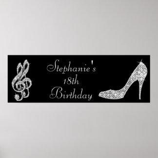 Notas negras/de plata de la música y cumpleaños póster