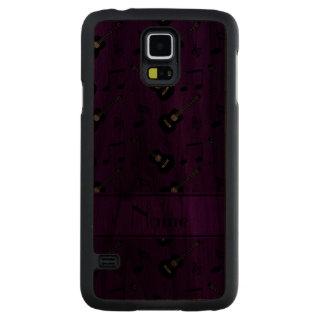 Notas negras púrpuras conocidas de encargo de la funda de galaxy s5 slim nogal