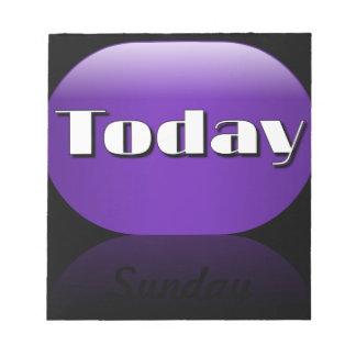 Notas pegajosas de domingo del calendario del día  blocs de notas