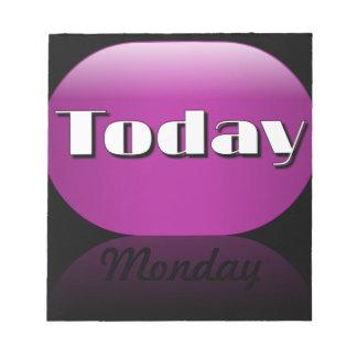 Notas pegajosas de lunes del calendario del día la blocs de notas