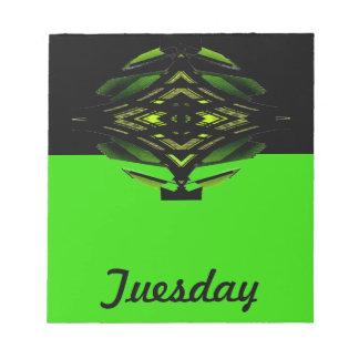 Notas pegajosas de martes del calendario de la her libreta para notas