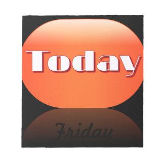 Notas pegajosas de viernes del calendario del día  blocs de papel