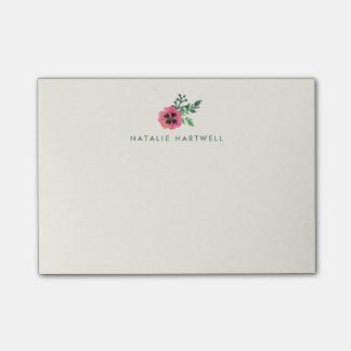 Notas pegajosas personalizadas florales rosadas