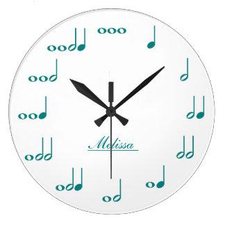 Notas personalizadas de la música - azul del trull reloj