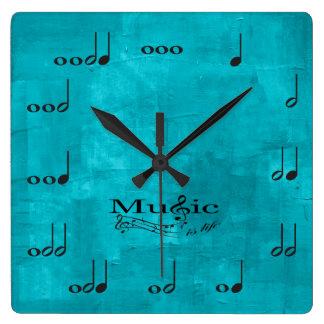 Notas personalizadas de la música - la música es reloj cuadrado