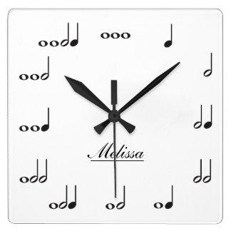 Notas personalizadas de la música reloj cuadrado
