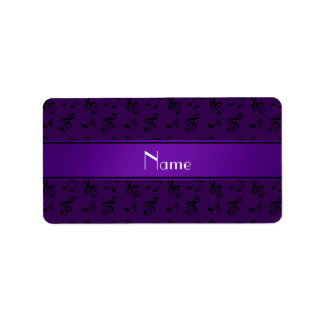 Notas púrpuras conocidas personalizadas de la músi etiqueta de dirección