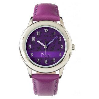 Notas púrpuras conocidas personalizadas de la reloj de mano