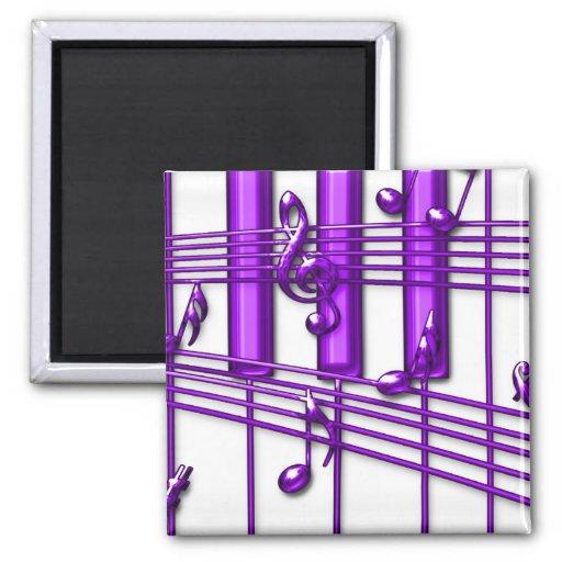 Notas púrpuras de la música del teclado de piano imanes