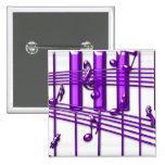 Notas púrpuras de la música del teclado de piano pins