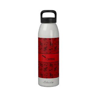 Notas rojas conocidas personalizadas de la música botella de agua reutilizable