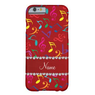 Notas rojas conocidas personalizadas de la música funda barely there iPhone 6