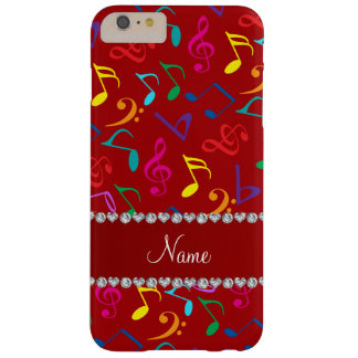 Notas rojas conocidas personalizadas de la música funda barely there iPhone 6 plus