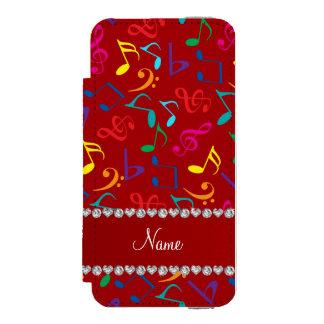 Notas rojas conocidas personalizadas de la música funda billetera para iPhone 5 watson
