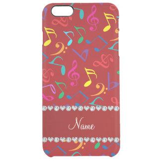 Notas rojas conocidas personalizadas de la música funda clear para iPhone 6 plus