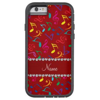 Notas rojas conocidas personalizadas de la música funda tough xtreme iPhone 6
