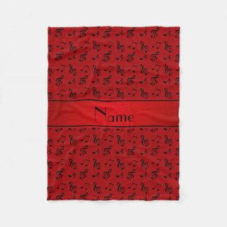 Notas rojas conocidas personalizadas de la música manta de forro polar
