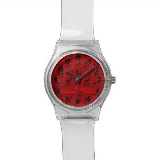 Notas rojas conocidas personalizadas de la música relojes de pulsera