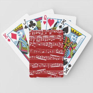 Notas rojas de la música cartas de juego