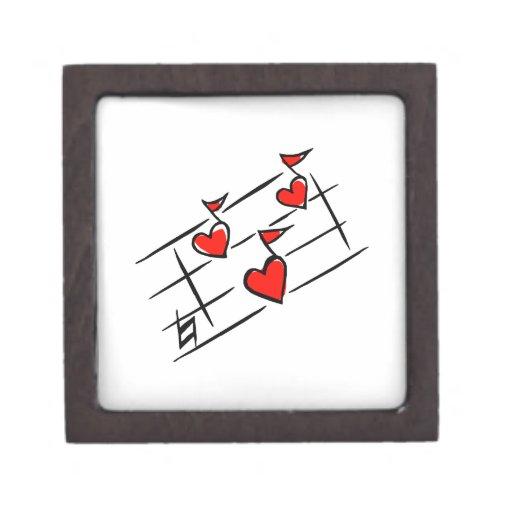 notas rojas de la música de los corazones caja de recuerdo de calidad