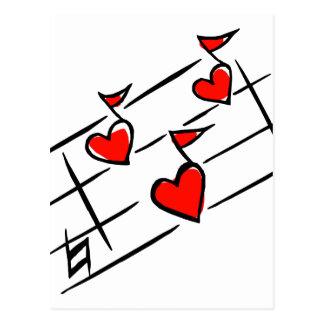 notas rojas de la música de los corazones tarjetas postales
