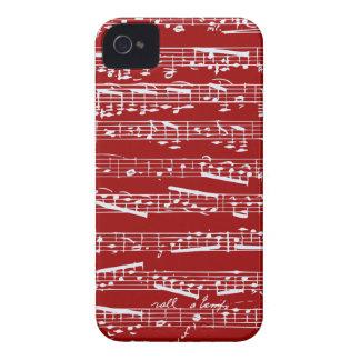 Notas rojas de la música iPhone 4 Case-Mate fundas