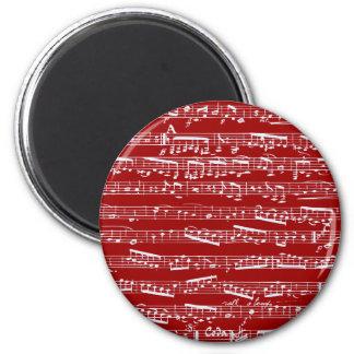 Notas rojas de la música imán redondo 5 cm
