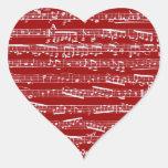 Notas rojas de la música calcomanías corazones personalizadas