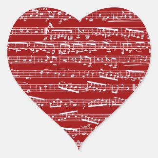 Notas rojas de la música pegatina en forma de corazón