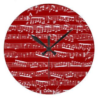 Notas rojas de la música reloj redondo grande