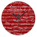 Notas rojas de la música relojes