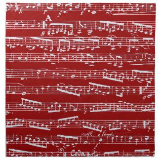 Notas rojas de la música servilleta de papel