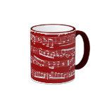 Notas rojas de la música taza