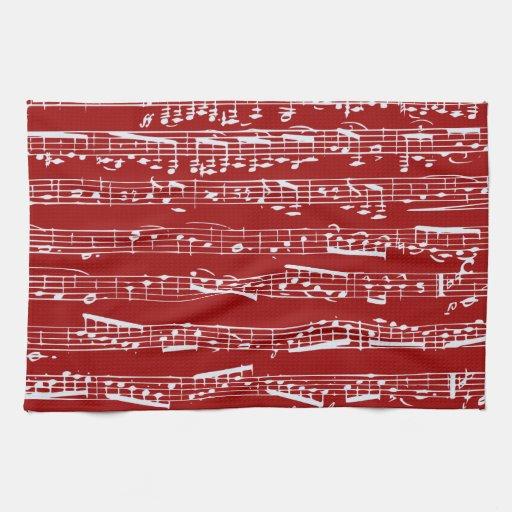 Notas rojas de la música toalla