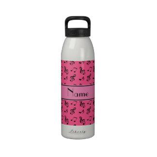Notas rosadas conocidas personalizadas de la músic botella de beber
