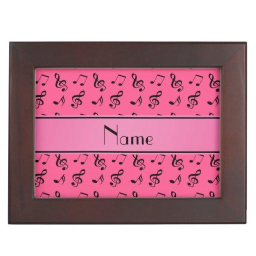 Notas rosadas conocidas personalizadas de la músic cajas de recuerdos