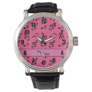 Notas rosadas conocidas personalizadas de la relojes