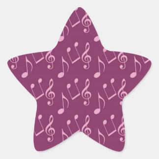 Notas rosadas de la música pegatina en forma de estrella