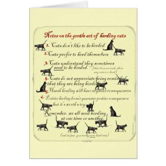 Notas sobre el arte apacible de reunir gatos tarjeta de felicitación