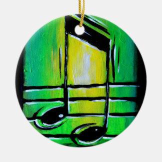 Notas verdes adorno navideño redondo de cerámica