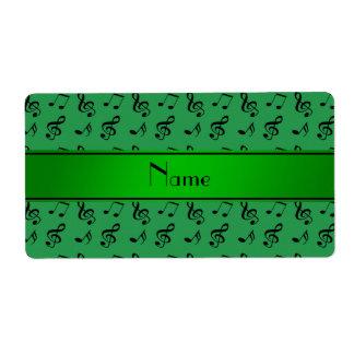 Notas verdes conocidas personalizadas de la música etiquetas de envío